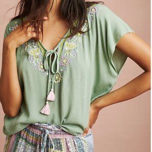 ANTHROPOLOGIE Moss Green Floral Persephone Top